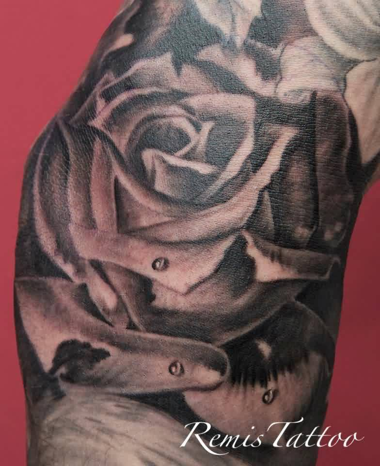 Black And Gre Rose Portrait Tattoo
