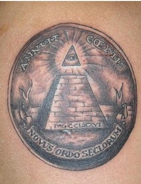 Black And Grey Ink Aztec Pyramid Tattoo Image