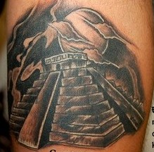 Black And Grey Ink Aztec Pyramid Tattoo