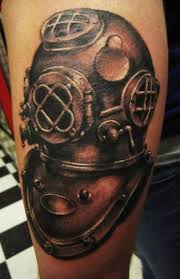 Black And Grey Ink Diver Helmet Tattoo