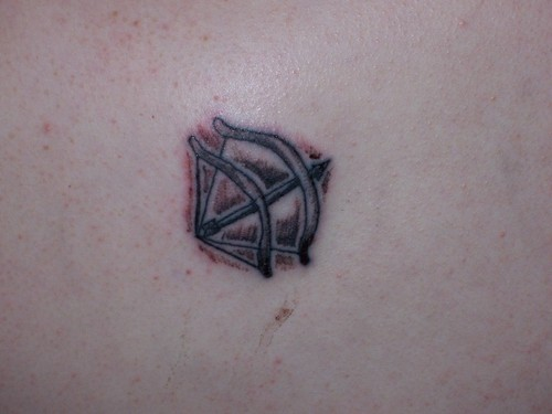 Black And Grey Ink Double Bow And Arrow Tattoo