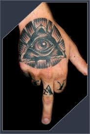 Black And Grey Ink Eye Pyramid Tattoo On Hand