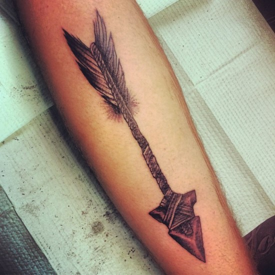 Black And Grey Ink Old Arrow Tattoo