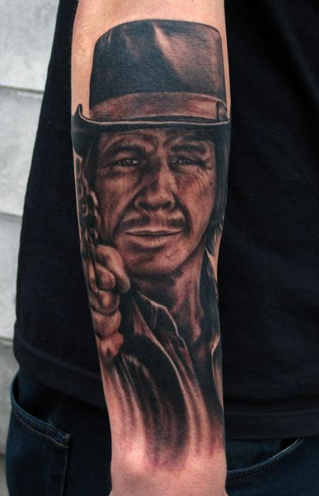 Black And Grey Ink Tophat Man Portrait Tattoo