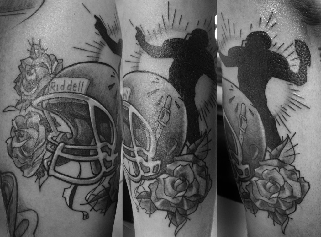 Black And White American Football Helmet And Rose Tattoos