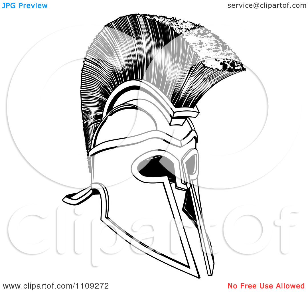 Black And White Ancient Corinthian Or Spartan Helmet Tattoo Design