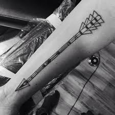Black And White Arrow Tattoo On Forearm