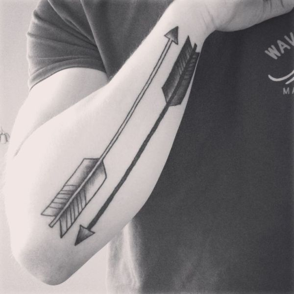 Black And White Arrow Tattoos On Arm