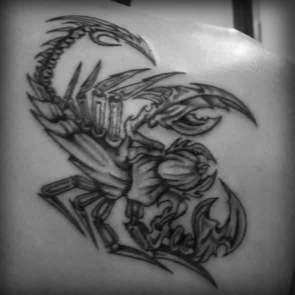 Black And White Biomechanical Scorpion Tattoo