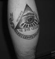 Black And White Eye Pyramid And Banner Tattoos