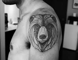 Black And White Geometric Animal Head Tattoo On Shoulder