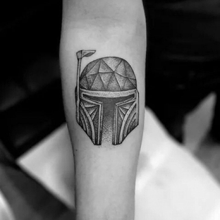 Black And White Helmet Tattoo On Forearm