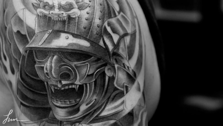 Black And White Japanese Samurai Helmet Tattoo