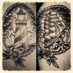 Black And White Lighthouse And Ship Tattoos