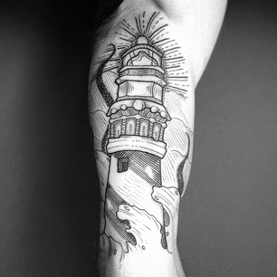 Black And White Lighthouse Tattoo