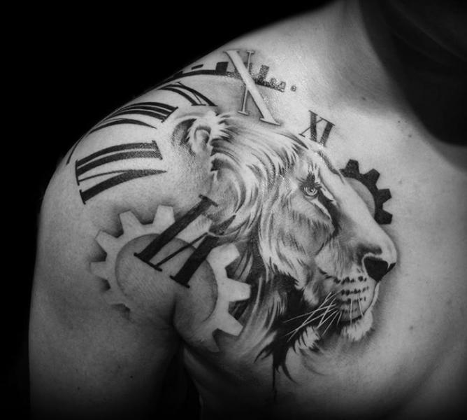 Black And White Lion Clock Tattoo For Men