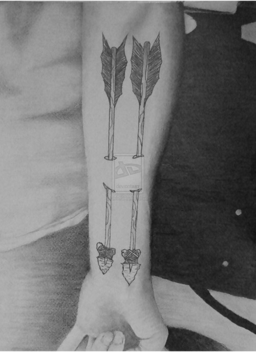 Black And White Old Arrows Ripped Skin Tattoos