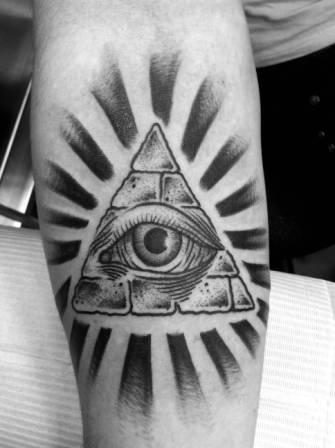 Black And White Rays And Eye Pyramid Tattoos