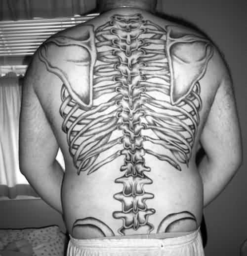 Black And White Skeleton Back Bones Tattoo
