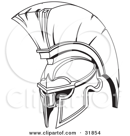 Black And White Spartan Or Trojan Helmet Tattoo Sample