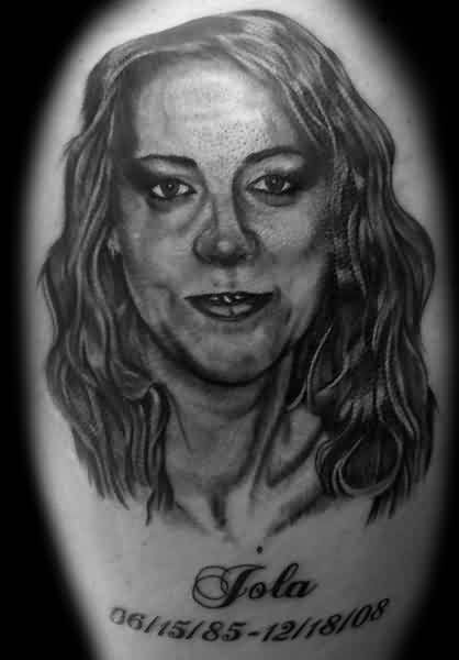 Black And White Woman Portrait Tattoo