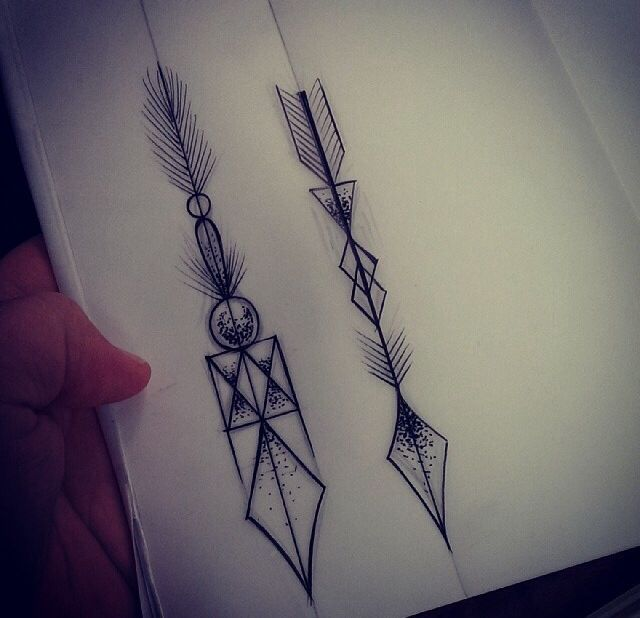 Black Arrow Tattoo Designs On White Page