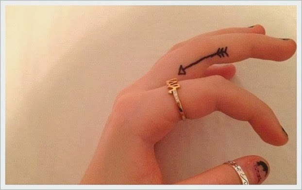 Black Arrow Tattoo On Side Of Finger