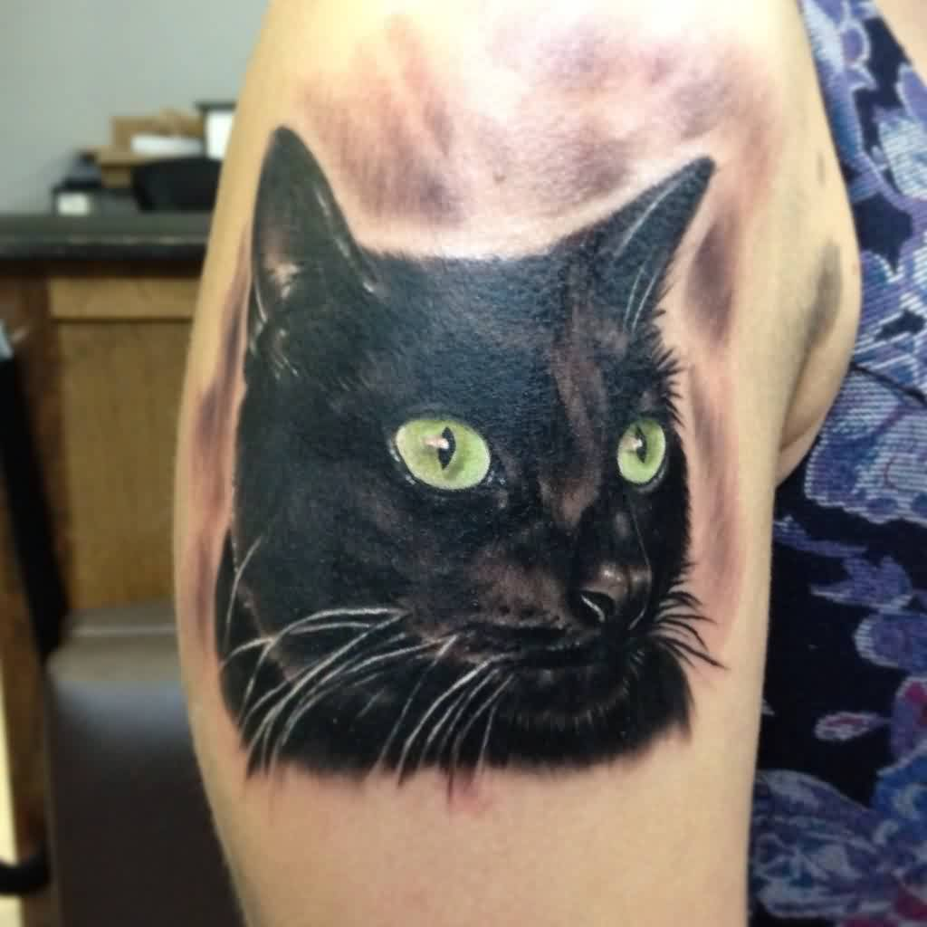 Black Cat Portrait Tattoo For Girls And Women