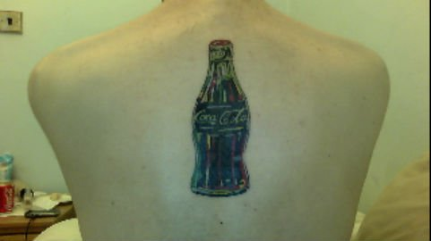 Black Coke Bottle Tattoo On Upperback