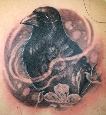 Black Crow And Flowers Portrait Tattoos