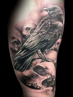 Black Crow And Skulls Portrait Tattoos