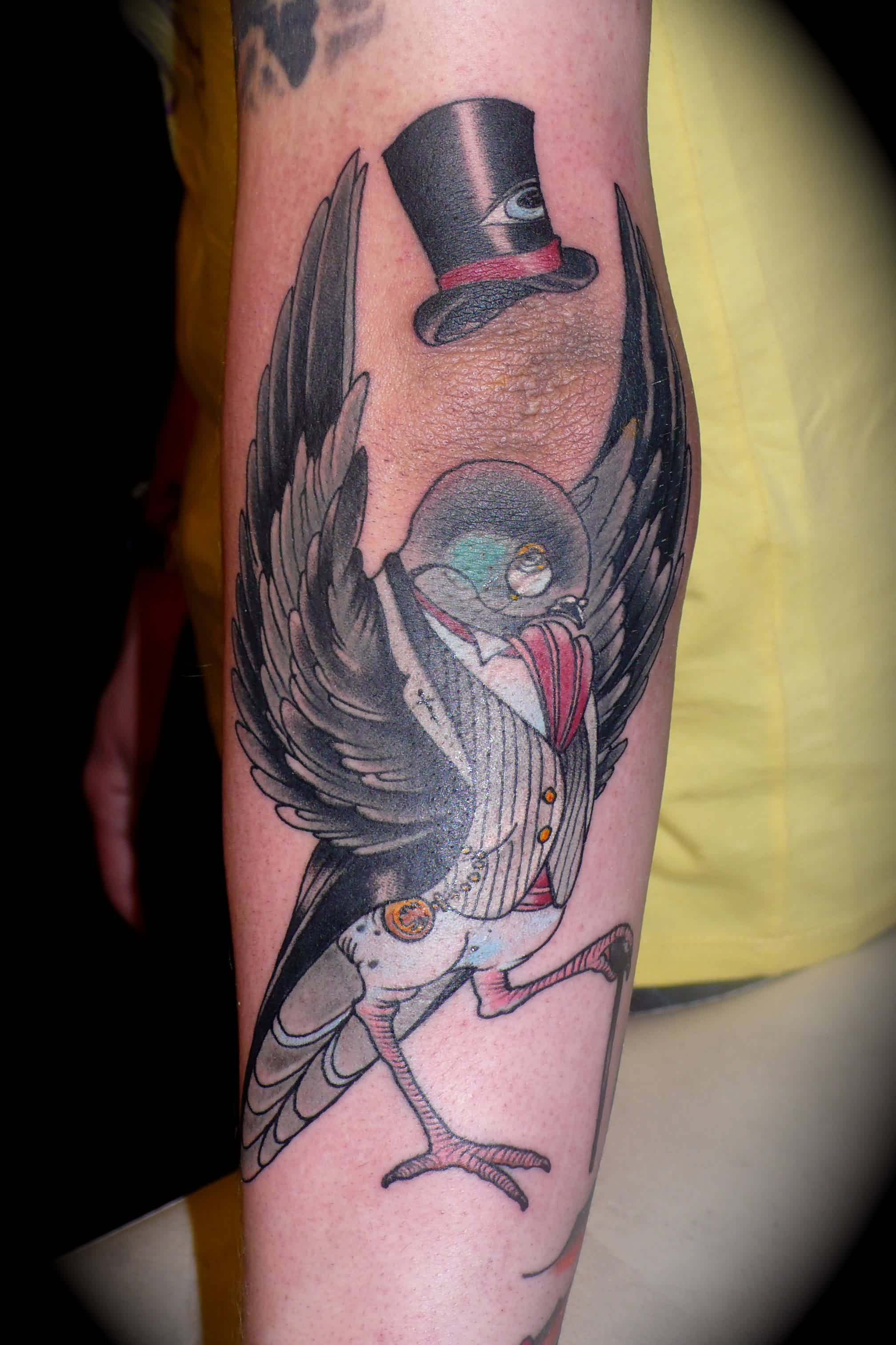 Black Hat And Pigeon In Suit Tattoo