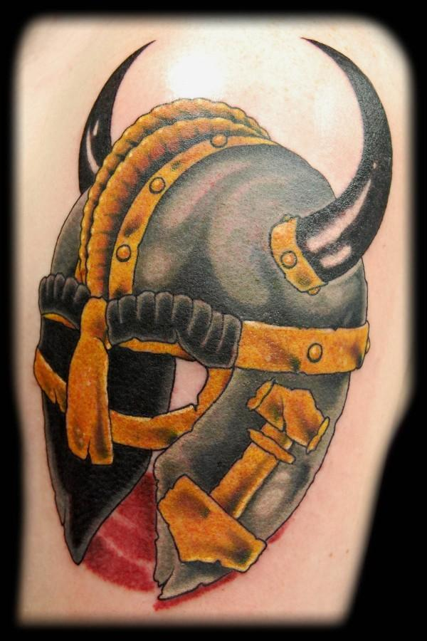 Black Horned Helmet Tattoo