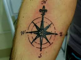 Black Ink Arrow Compass Tattoo