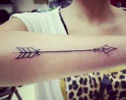 Black Ink Arrow Tattoo On Arm