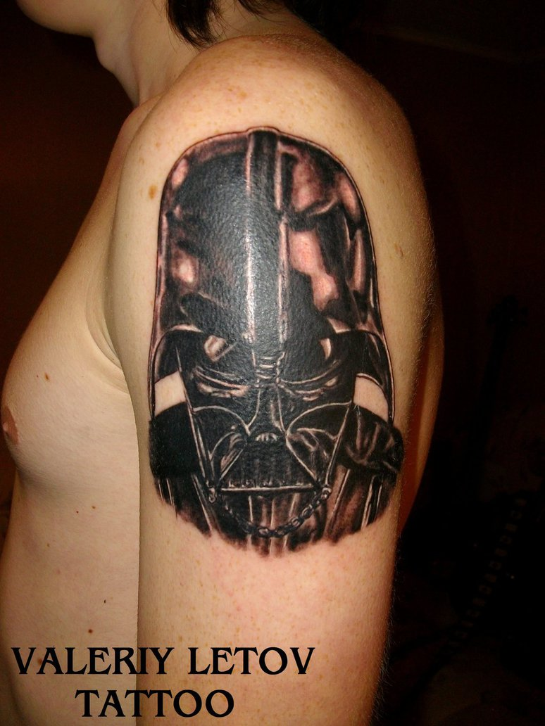 Black Ink Darth Vader Helmet Tattoo On Shoulder