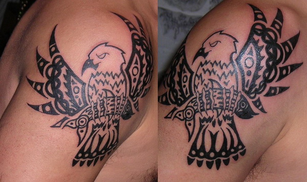 Black Ink Native American Eagle Tattoo