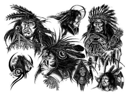 Black Ink Native American Tattoo Designs
