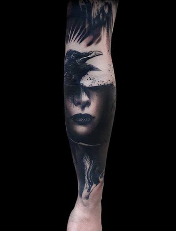Black Ink Portrait Tattoos On Sleeve