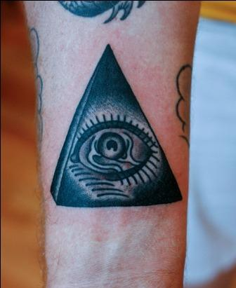 Black Ink Pyramid Eye Tattoo On Arm
