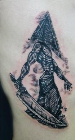Black Ink Pyramid Head Tattoo