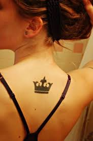 Black Ink Queen's Crown Tattoo On Upperback