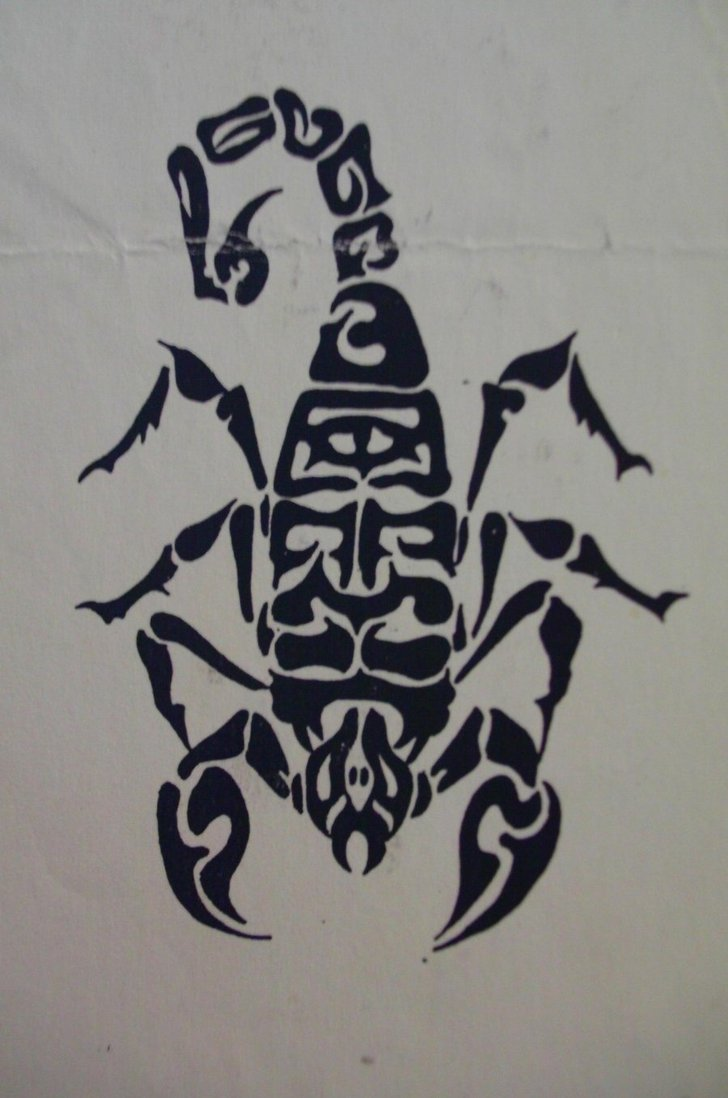 Black Ink Scorpion Tattoo Design (4)