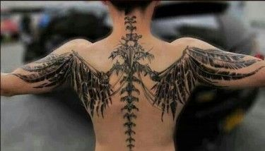 Black Ink Spine Bone Tattoo For Guys