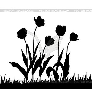 Black Ink Tulips Tattoo Design