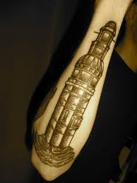 Black Lighthouse Tattoo On Arm
