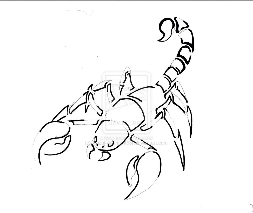 Black Outline Scorpion Tattoo Sample