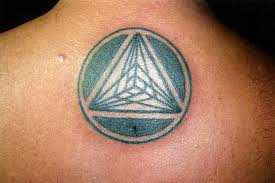 Black Pyramid In Circle Tattoo