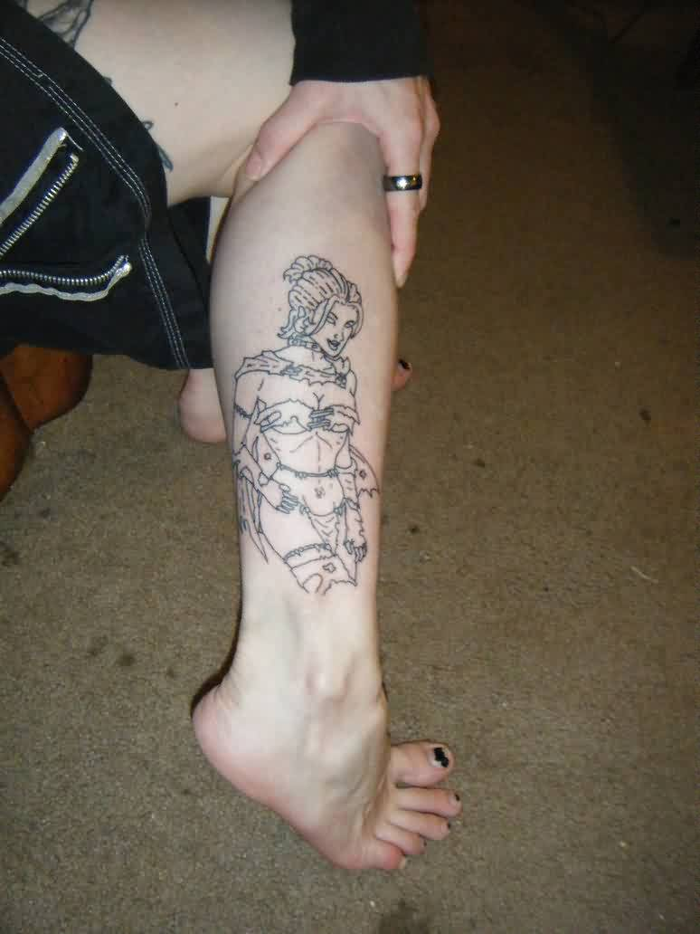 Black Queen Savage Land Tattoo On Leg