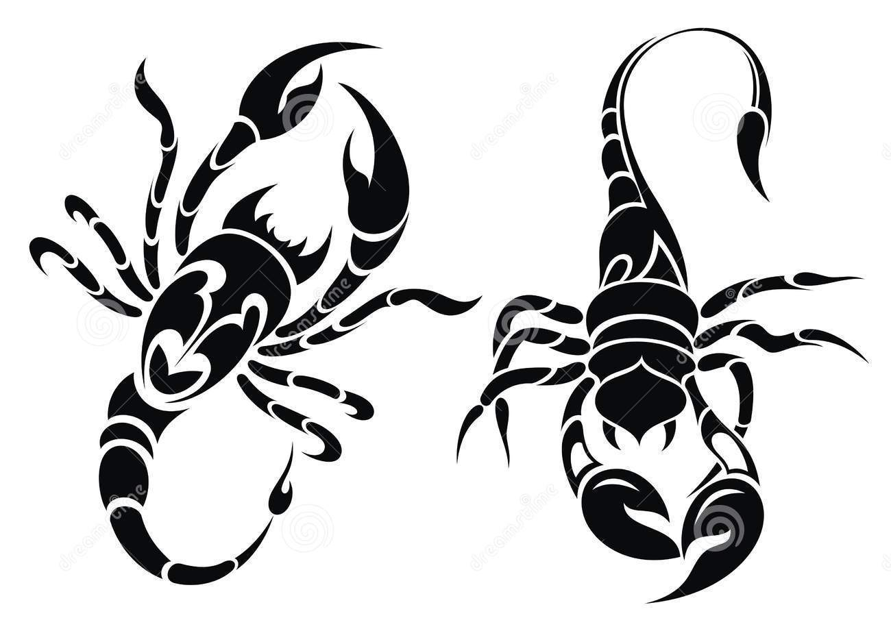 Black Scorpion Tattoos Set
